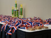MNAD medals and trophies on table.