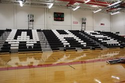 Gymnasium with bleachers.